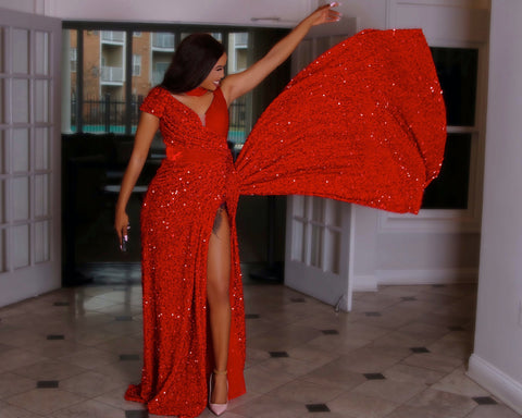 Red sparkly high split sequins dress