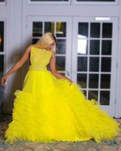 Vavavoom yellow sunflower tulle dress