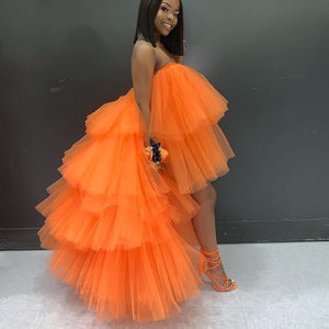 Extra Puffy Tulle Hi Low Prom Gown Party Dresses Tiered Ball Gown Cocktail Formal Dress Chic Orange Skirt Tutu Occasion Wear