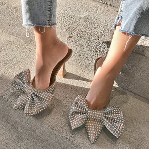 Super Flash Bow Rhinestone Shiny Wine Glass with High Heel Women's Slippers