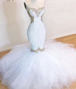 Sexy Mermaid Sweetheart Beaded Crystals  White Sequin Prom Dress
