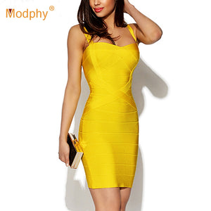 Women Sexy Spaghetti Strap Rayon HL Elastic Celebrity Bandage Dress