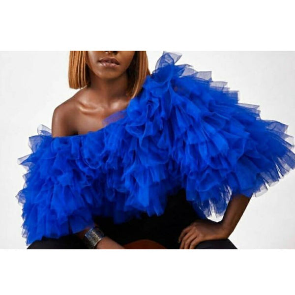 Royal Blue Ruffles Tulle Short Women Tops Summer Women Blouse 2020 Off The Shoulder Female Top Blusas Fashion