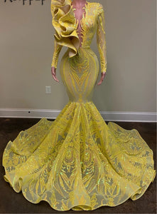 Long Prom Dresses 2020 O-neck Long Sleeve African Black Girl Mermaid Women Yellow Gala Sequin Party Prom Dress