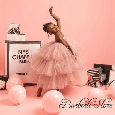 Pretty Champagne Puffy Tiered Ruffles Tulle Kid Dresses