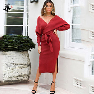 Sweater Dress Women Long Sleeve Winter Bandage Bodycon