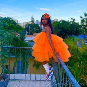 Orange Lush Tulle Women Top Short Dress