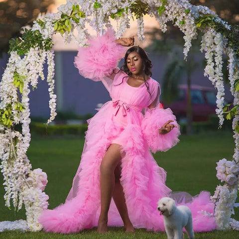 Pink See Thru Ruffled Tulle Women Long Robes Maternity Dresses Photo Shoot Photoshoots Full Sleeves Birthday Gowns