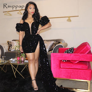 Black Short Prom Dresses 2021 Sexy Deep V-neck Cap Sleeve Ruffles African Girl Mini Prom Dress