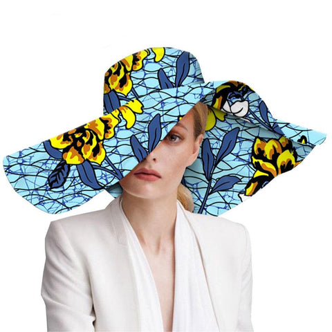 Women`s hats african print floral ladies hats ankara fabric wide brim hat wax batik bazin riche AFRIPRIDE A1928009
