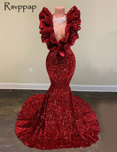 Long Sparkly Prom Dresses 2021 Real V-neck Sleeveless Mermaid Ruffles Burgundy Sequin African Black Girls Prom Dress