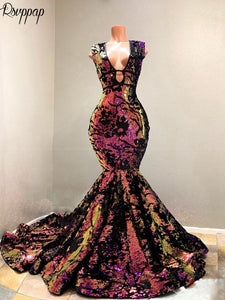 Long Sparkly Prom Dresses 2020 Mermaid Style Maternity Gowns V-neck Colorful Sequin African Black Girl Sexy Women Prom Dress