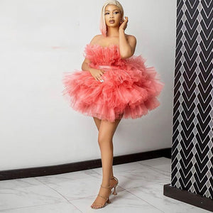 Sweet Short Puffy Tulle Women Dresses To Birthday Party Sexy Off The Shoulder Ruffles Tulle Party Dresses Summer