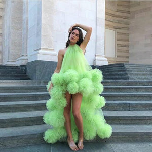 Neon Green Sexy Long Evening Formal Dresses robe de soiree Hi Low Ruffle Tulle Elegant Evening Gown Halter Party Dresses