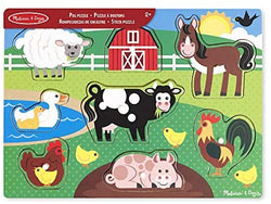 Melissa & Doug 19050 Doug Wooden Peg Puzzle-Farm Animals, Multicolor