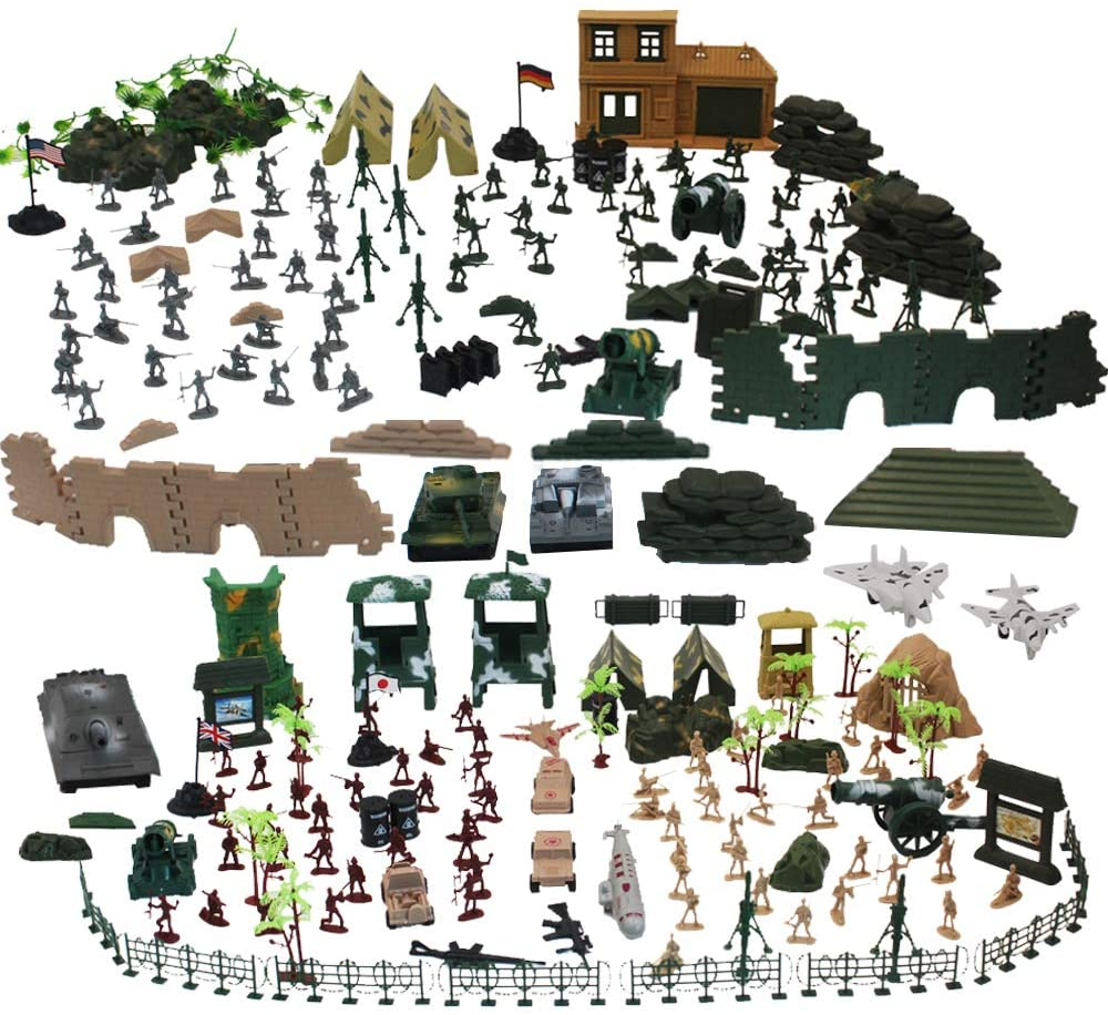 303 Piece Army Men Playset with Toy Soldiers; Military Figures; Tanks; Planes; Flags; Carry Case and Battlefield Accessories