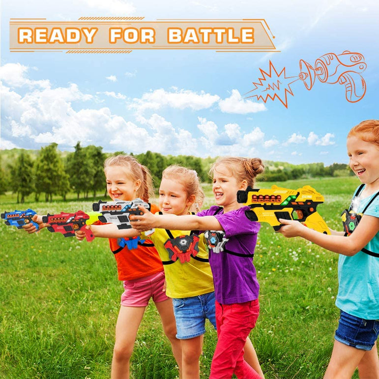 VATOS Laser Tag Set with Spray Function and LED Display Screen, Set of 4 Laser Tag Gun with Vests for Kids Teenager Adults Family, Group Fun Toy for 6 7 8 9 10 11 12+ Boys Girls