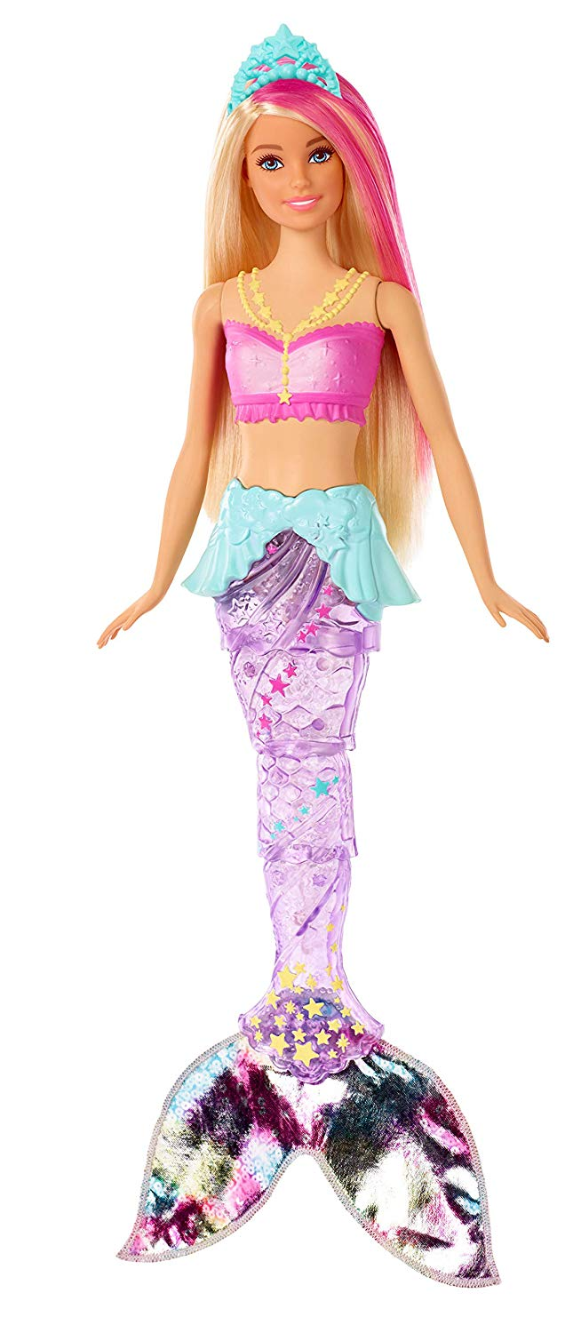 Barbie GFL82 Dreamtopia Sparkle Mermaid Doll, with Swimming Motion and Underwater Light Shows, Approximately 12 Inch, with Pink-Streaked Blonde Hair