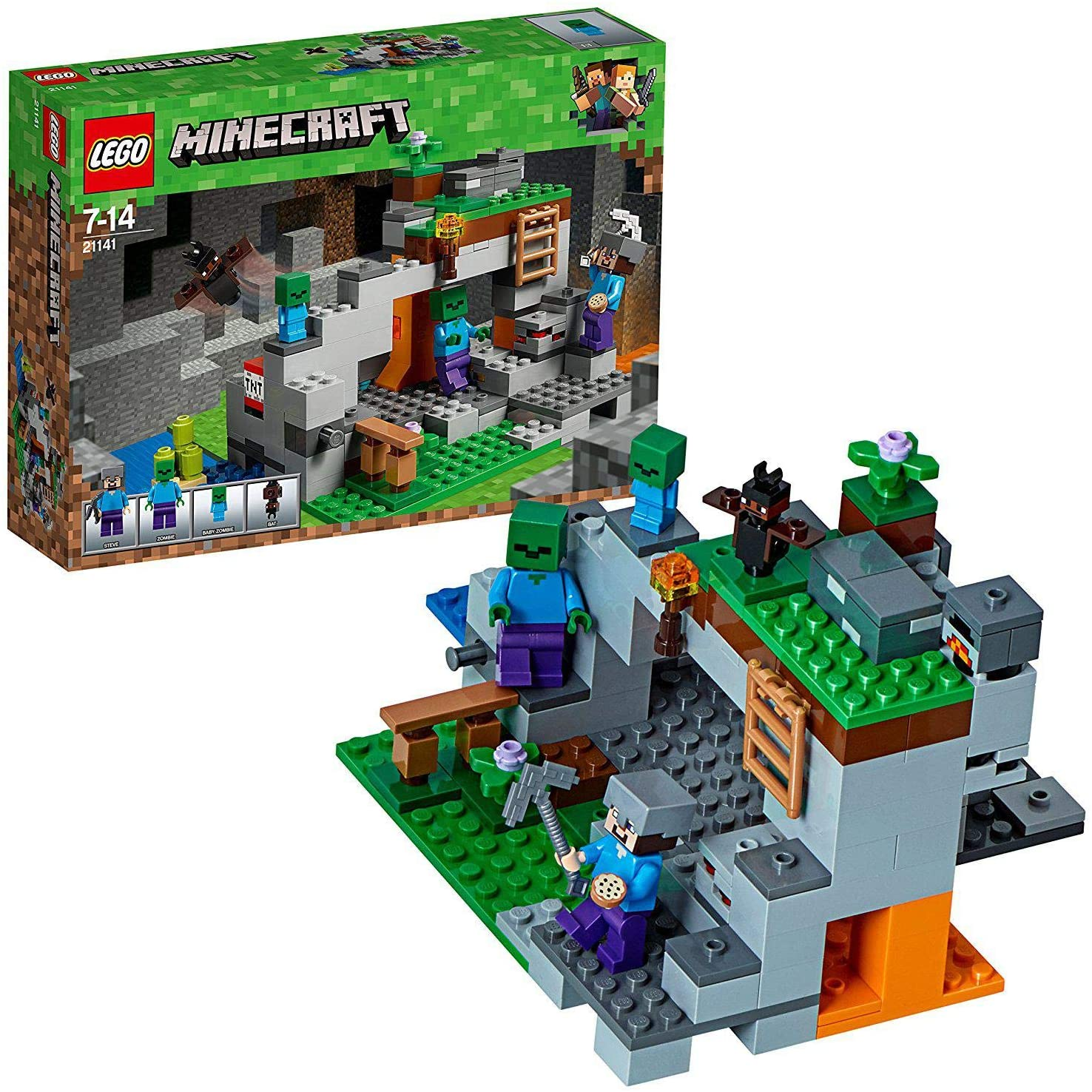 LEGO 21141 Minecraft The Zombie Cave Adventures Building Set with Steve, Zombie and Baby Zombie Minifigures Toy for Kids