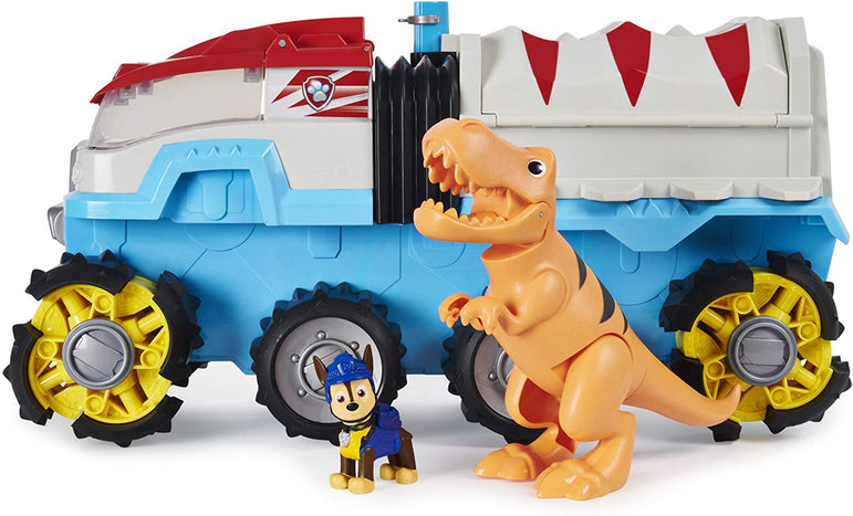 PAW Patrol 6058905 - Dino Rescue Dino Patroller Motorised Team Vehicle with Exclusive Chase and T-Rex Figures