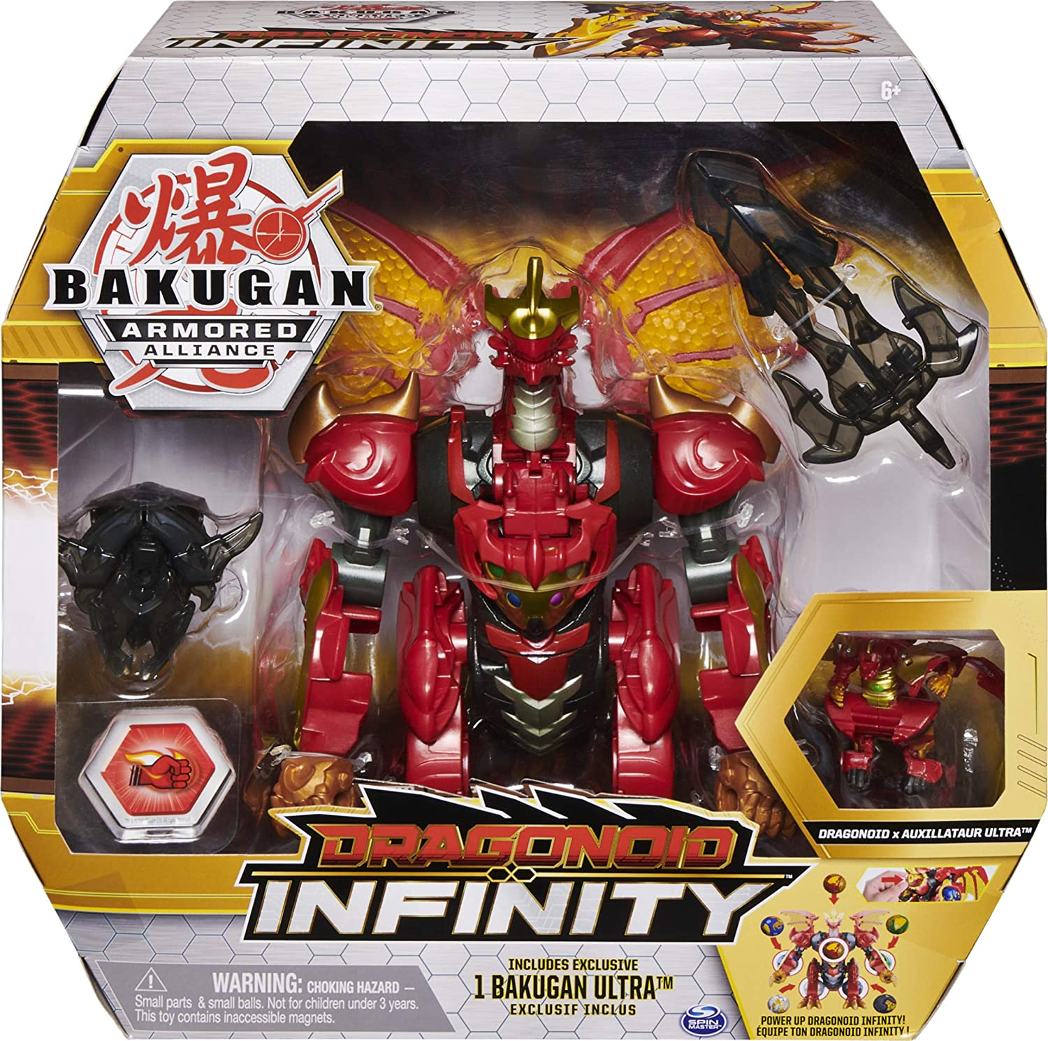 Bakugan Dragonoid Infinity Transforming Figure with Exclusive Fused Bakugan Ultra and 10 Baku-Gear Accessories
