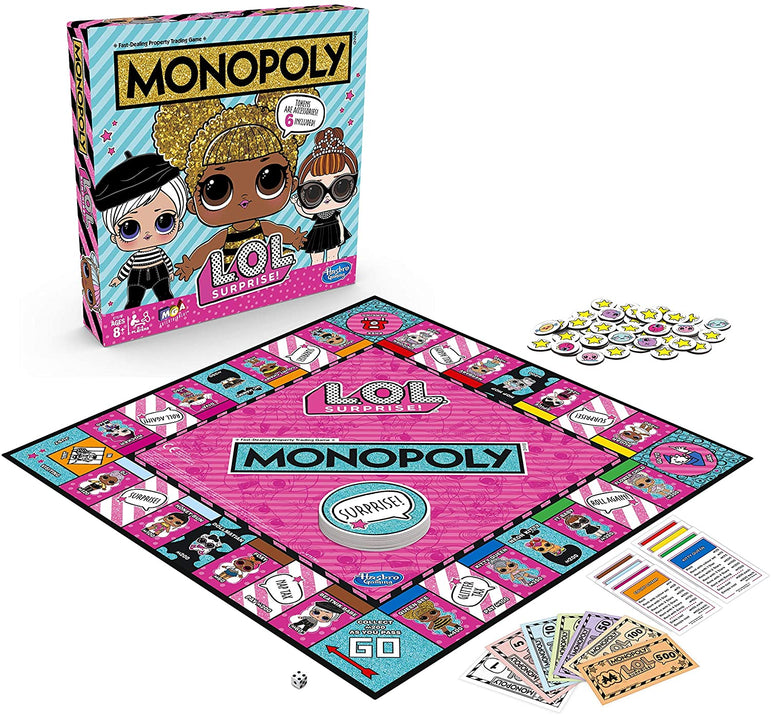 Monopoly Game: L.O.L. Surprise Edition Board Game for Kids Ages 8 and up