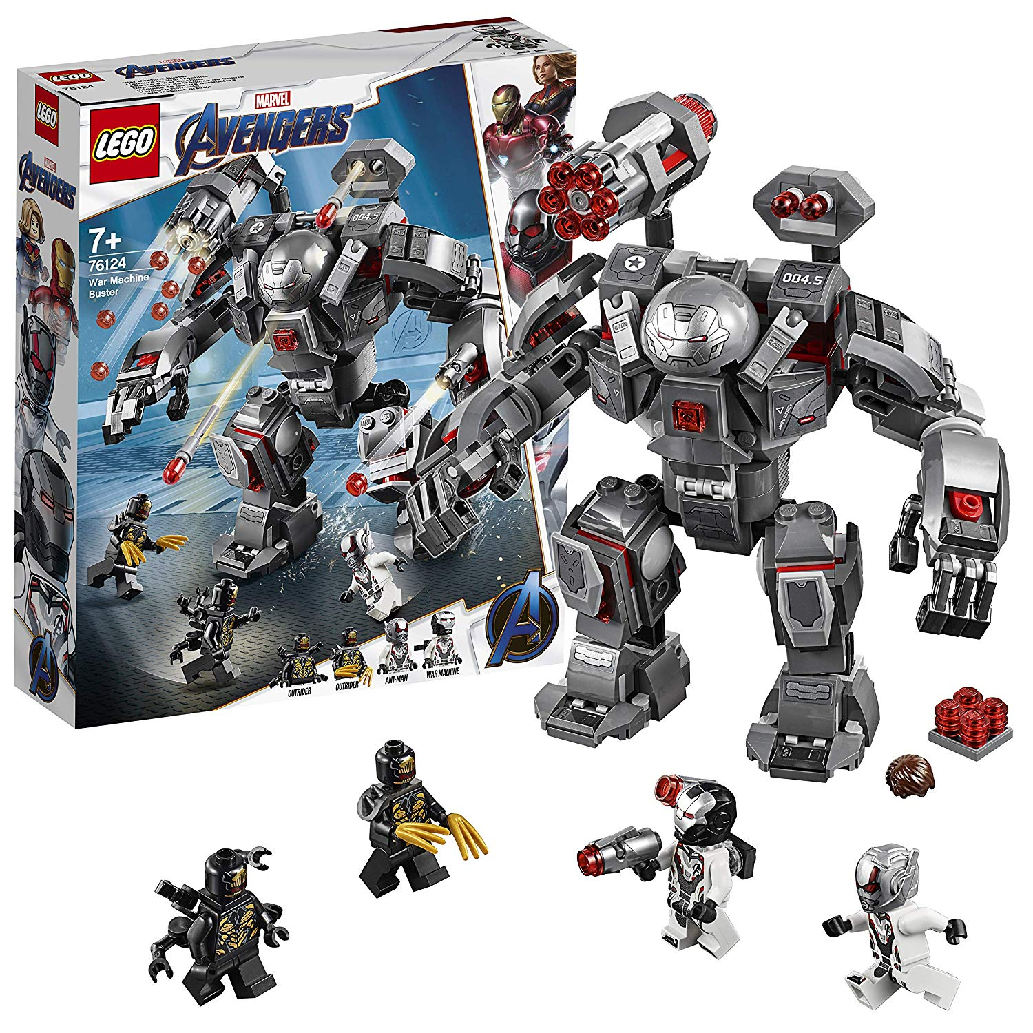 LEGO 76124 Marvel Avengers War Machine Action Figure, Ant-Man Minifigure, Super Heroes Playset, Colourful