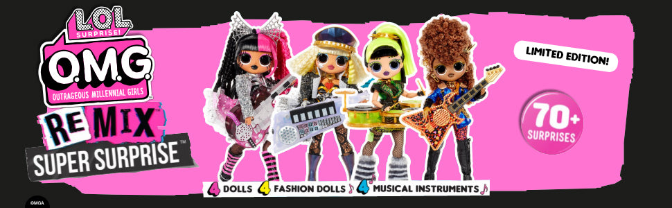L.O.L Surprise! O.M.G. Remix Super Surprise – 70+ Surprises, 4 Fashion Dolls & 4 Dolls