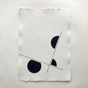 Alewijn Don Drawings, Division Triptych, brush pen on cotton paper A3 size, abstract drawing in dark blue.
