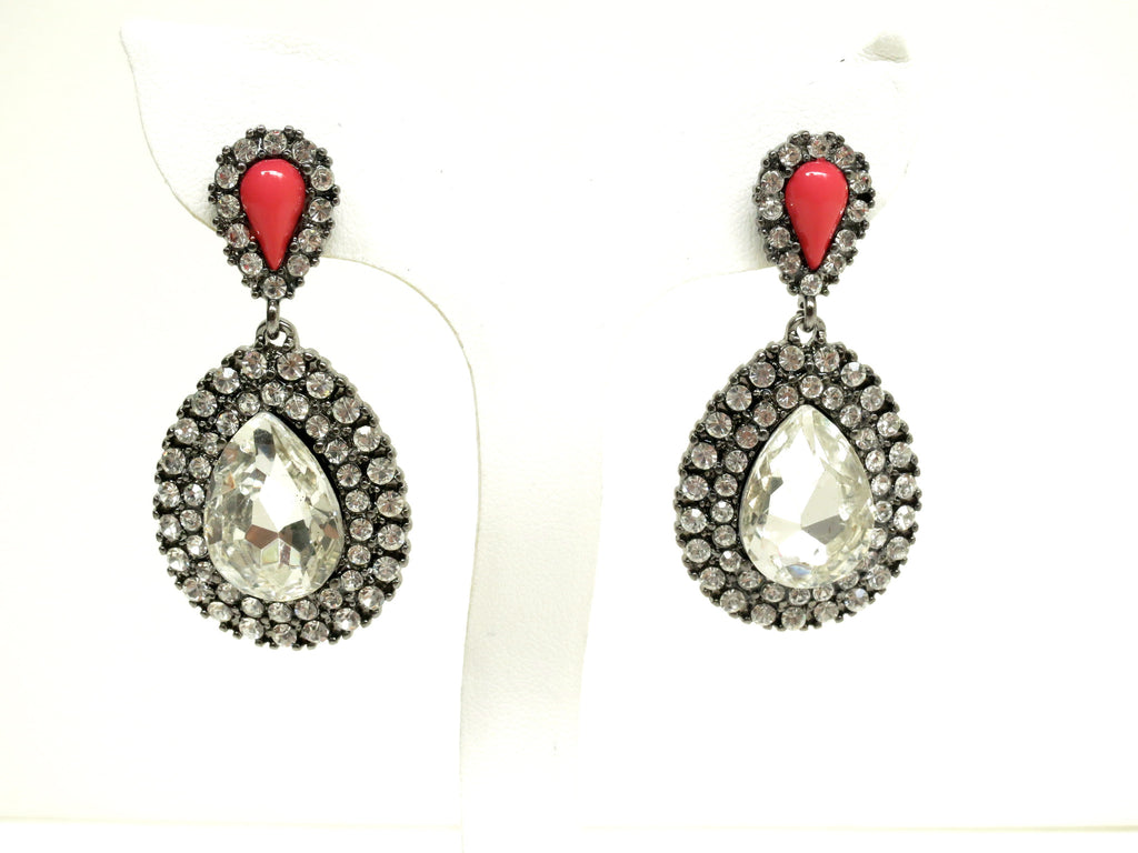 Coral and Crystal Pear Drop Earrings