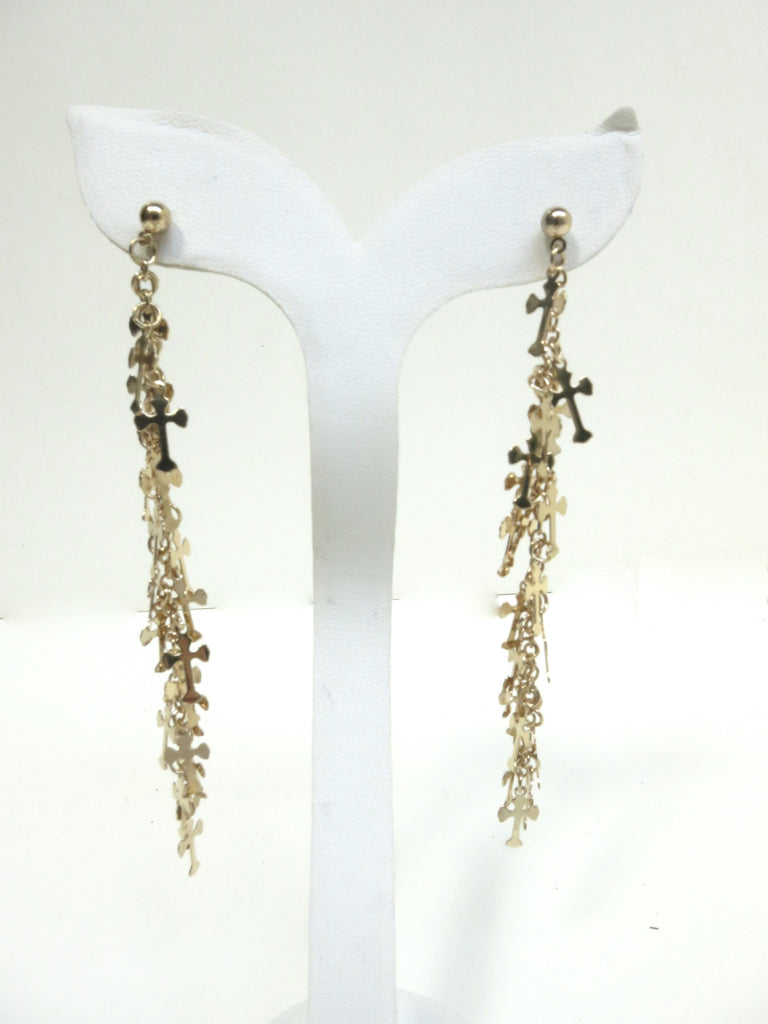 Gold Cross Dangling Earrings
