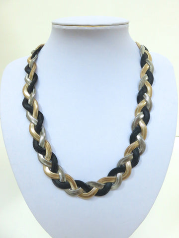 Tricolor Flat Braided Necklace