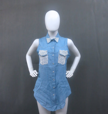 Chambray Sleeveless Top