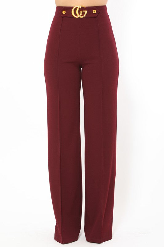 Mo Mo High Waist Wine Pants