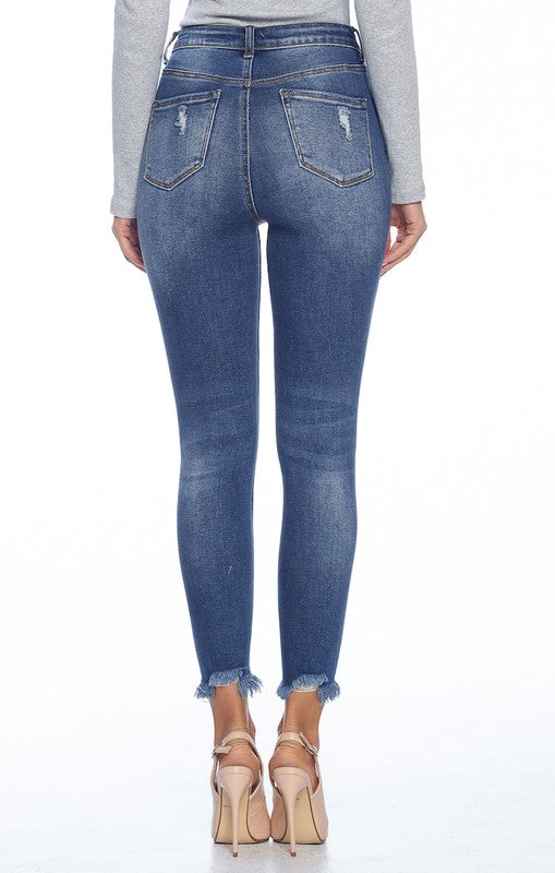 Mid High Rise Destructed Ripped Skinny Jeans