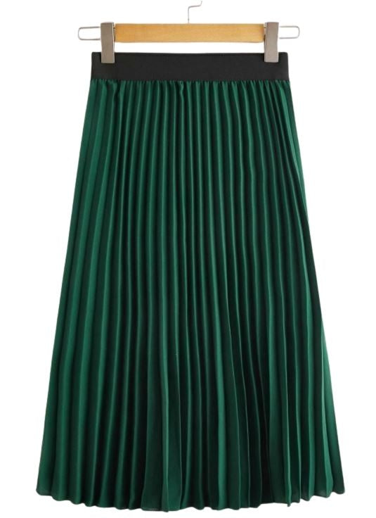 Green With Envy Pleated Skirt