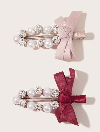 Burgundy and Pink Pearl Hair Clips