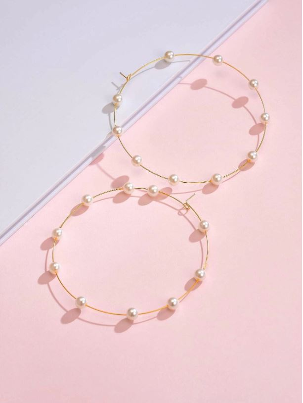 Oversize Large Faux Pearl Hoops