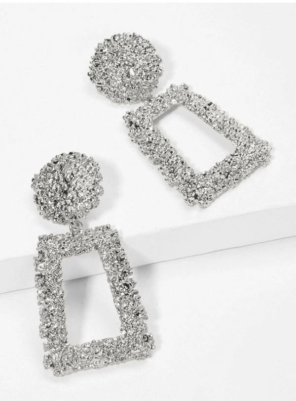 Rectangle Textured Drop Earrings