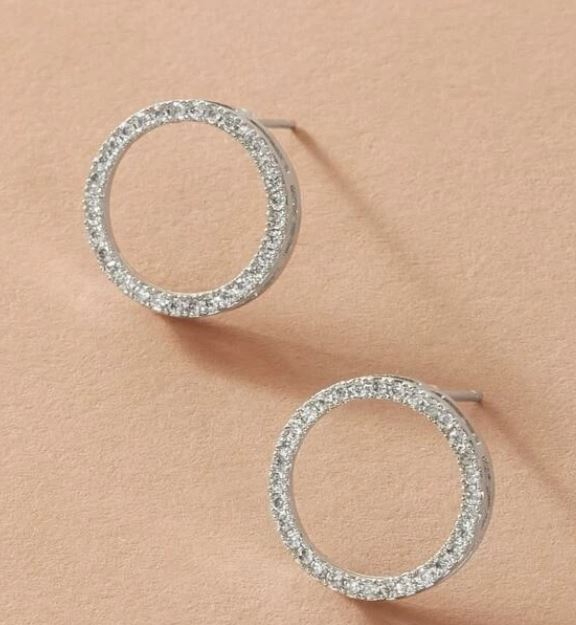 Rhinestone Round Studs Earrings