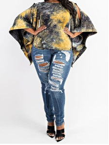 Curvy Girl Wide Sleeve Tye Dye Shirt