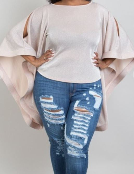 Curvy Girl Blush Wide Sleeve Blouse