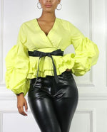 Puff Sleeve Wrap Blouse