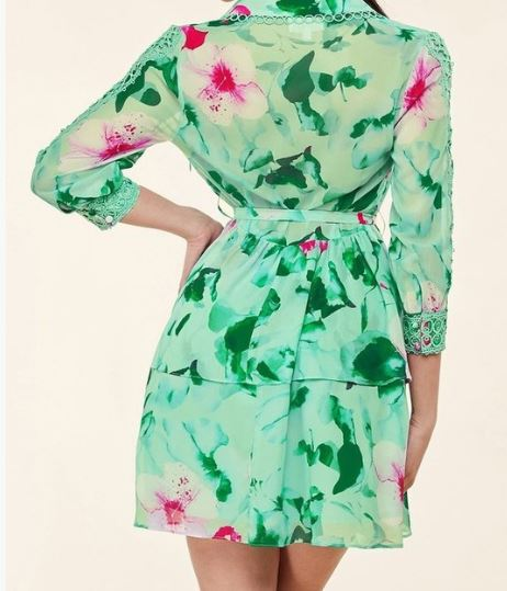 Pink and Green Floral Lattice Dress