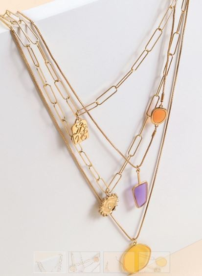 Glass Stones Layered Necklace