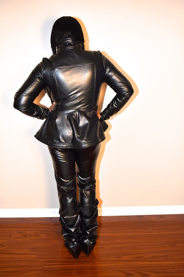 Stretch Faux Leather Peplum Jacket, Now $40