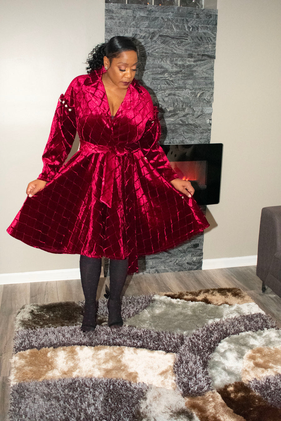 Karamu Wine Coat Dress