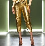 Gold Metallic Capri Pants