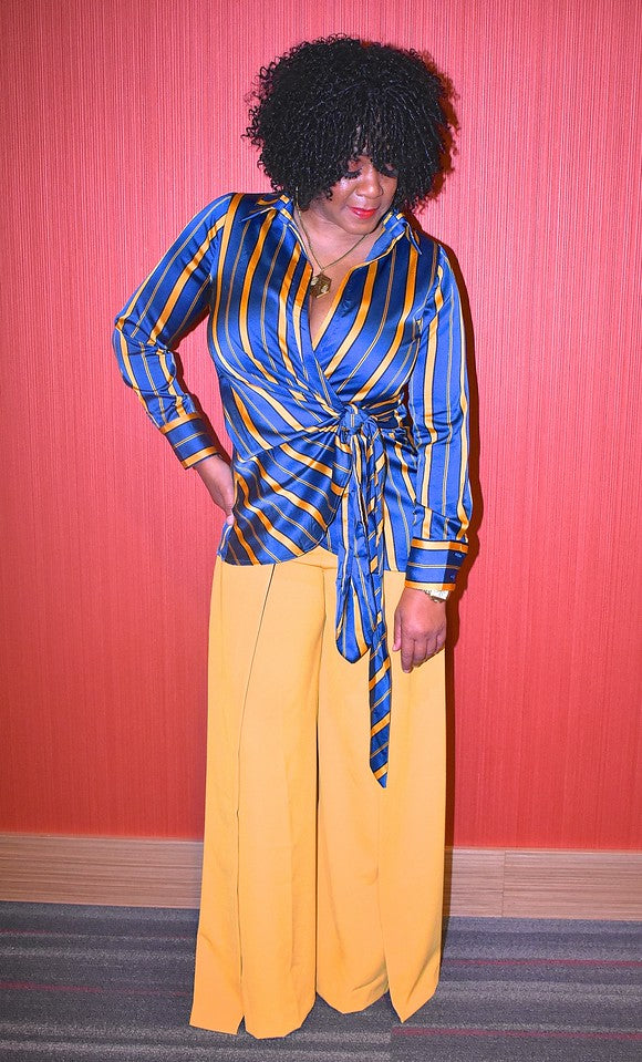 Blue and Gold Striped Wrap Blouse