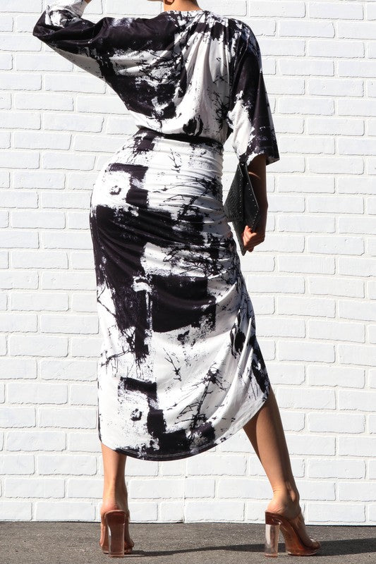 Marble Ruched Bodycon Dress
